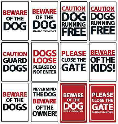 Text and Caution Dog Plastic Sign