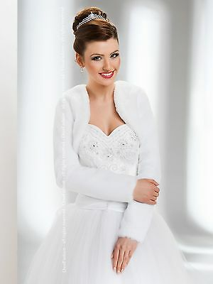 New Womens Wedding Faux Fur Jacket Bridal Wrap Shrug Bolero Coat Size UK 6 - 18