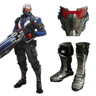 Overwatch Soldier 76 Mask Cuish Boots Cosplay Props PVC Accessories
