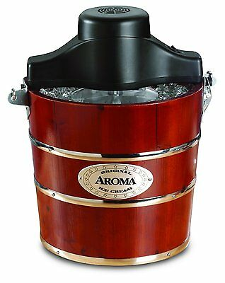 4 Quart Ice Cream Maker Old Fashioned Hand Crank Electric Patio Deck Serve Home