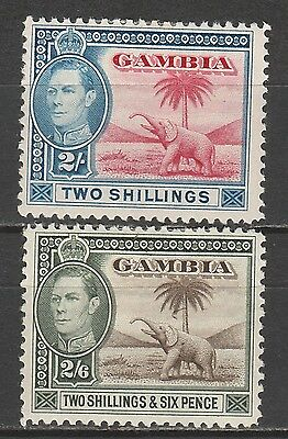 Gambia 1938 Kgvi Elephant 2/- And 2/6