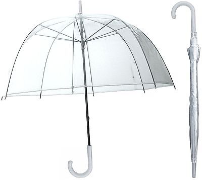 TheBigShip® Clear Dome Umbrella Brolly - Clear (White Handle)