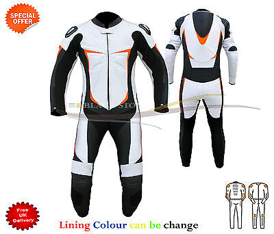 white motorbike leather suit racing leather suit with orange touch ce  Armour