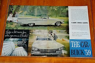 Beautiful 1959 Buick Electra 225 Convertible Large Ad / Vintage 50S Fifties