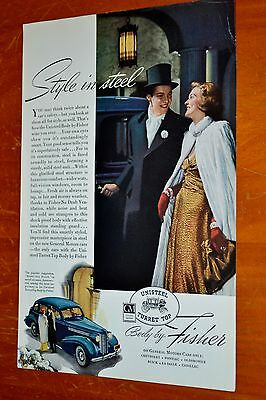 Classy 1938 Buick 4Dr Sedan Body By Fisher Ad / Vintage 30S 1930S American