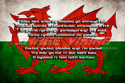 Wales Flag Poster Print National Anthem Lyrics Mae'n Hen Wlad Welsh Memoribilia