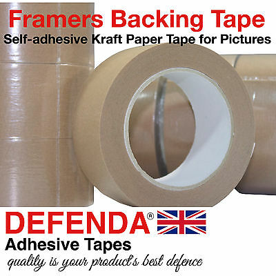 """6 Rolls 50mm 2"""" x 50m Self Adhesive Kraft Paper Tape Picture Framing Packaging"""