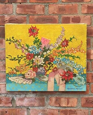 French Impressionist Oil Painting My Micheline Moreau. Floral Still Life. Signed
