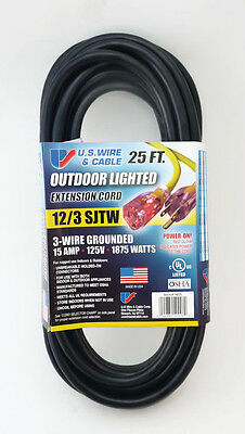 25' 12 Gauge Black Heavy Duty Extension Cord with Lighted End - MADE IN USA