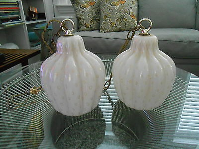 Pair VTG Barbini Era Murano Bullicante Hand Blown MCM Pendant Light Fixtures