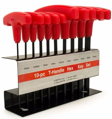10pc Metric T-Handle Hex Key Allen Wrench Tool Set