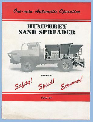 VINTAGE - HUMPHREY SAND SPREADER MODEL 7Y-2APL BROCHURE - 1940's