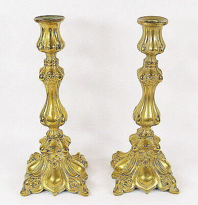 "Pair of Gilded Brass Shabbat Judaica Candlesticks Polish Warsaw ""fabr.wolska"""