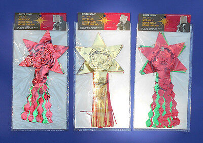 Vintage New Old Stock BRITE STAR 27 ft Metallic Tinsel Christmas Garland decor
