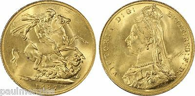 1887 Jubilee Victoria Choice Unc Gold Sovereign S-3866 Normal Jeb Pcgs Ms64+