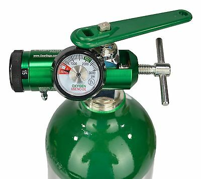 Lightning X O2 Mini Oxygen Regulator CGA-870 Gauge Flow Rate 0-15lpm w/ Wrench