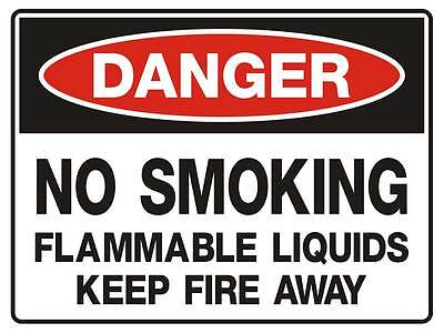 "Safety Sign ""DANGER NO SMOKING FLAMMABLE LIQUID 5mm corflute 300MM X 225MM"""