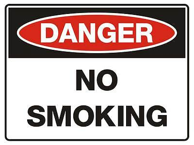 "Safety Sign ""DANGER LNO SMOKING 5mm corflute 300MM X 225MM"""