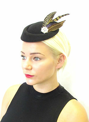 Black Brown Blue Pheasant Feather Pillbox Hat Fascinator Vintage Races 40s 100