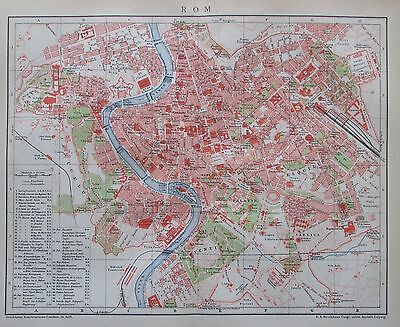 1895 ROM ROME ITALIEN ITALIA alte Stadtplan Karte Antique City Map Lithographie