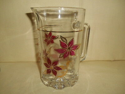 Mid Century A&M Frangar Non Flectar Pitcher & 3 Glasses Red & Gold Flowers Italy