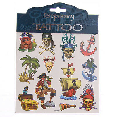 Childrens girls boys Temporary Tattoo Pirate Skull Design Ideal Party Gift