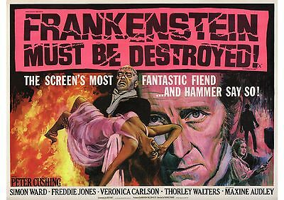 Frankenstein Must Be Destroyed - Peter Cushing - A4 Laminated Mini Poster