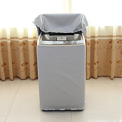 Washing Machine Top Zipper Dust Cover Oxford Cloth Silver Dustproof Protect S-L