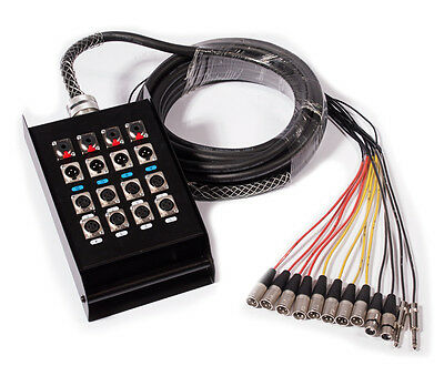 Multicore Cable w/ Stage Box - 12 Channels - 20m |  8 Send + 4 Return