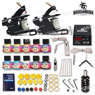 Tattoo Kit 2 Machine Gun Power Supply Set UK color ink Needles Grip HW-10VD-9CE