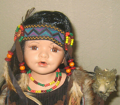 Beautiful Indian Maiden Porcelain Doll In Dk.brown Flux Swede Holding Wolf Staff