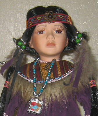 Beautiful Indian Maiden Porcelain Doll In Purple Outfit With Long Braids
