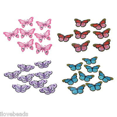 LOVE 5PCs Butterfly Embroidered Patches For Clothes Garments Iron-on Sew-on