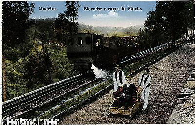 Madeira, Elevador e carro do Monte, old coloured postcard, unposted
