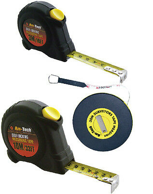 NEW 1m 3m 5m 7.5m 10m 30m Tape Measure Builders Fibreglass Surveyor Auto Stop
