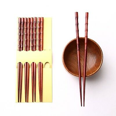 Chinese Chopsticks  Lot Of 5 Pairs Bamboo Joint Wooden Dark Red