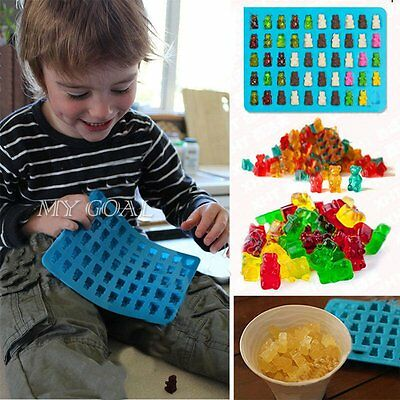 50 Cavity Silicone Gummy Bear Chocolate Mold Candy Maker Jelly Moulds Cute blue