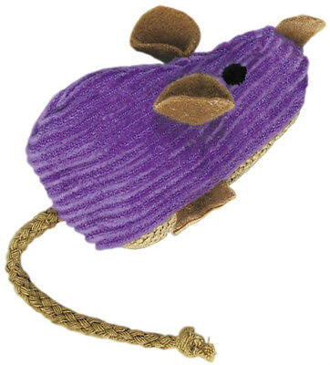 Kong Cat Kitten Purple Corduroy Mouse Refillable Catnip Toy Pet Play Fun