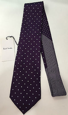 """Paul Smith Tie VIOLET with Grey Spots """"MAINLINE"""" Made in Italy 100% Silk"""