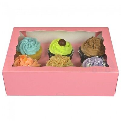 50 x 6 PREMIUM PINK CUPCAKE  BOX FREE NEXT DAY DELIVERY * ORDERED B4 1PM