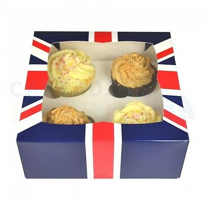 25  X Imperfect 4 Cavity Uk Cupcake Box + Divider Free Nxt Day Delivery