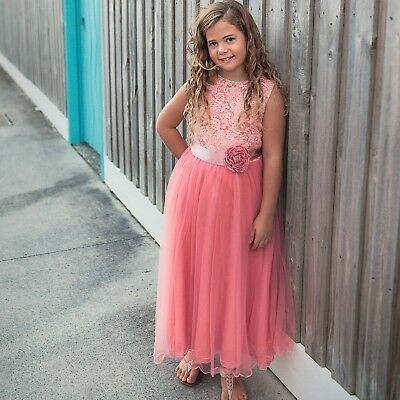 New PINK Flower Girl Dress Communion Confirmation Junior Wedding LACE TULLE