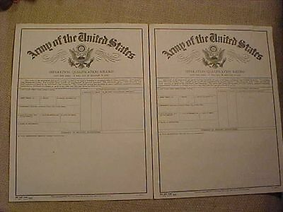 Original Wwii Lot Of 2 Unused Separation Qualification Record Forms