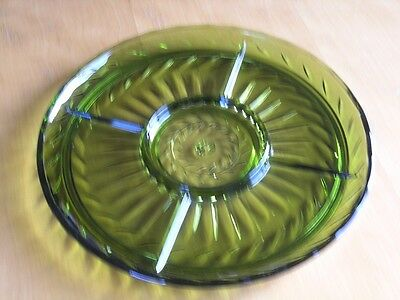 Vintage Large Green Glass Divided Lazy Susan Serving Platter Tray Anchor Hocking