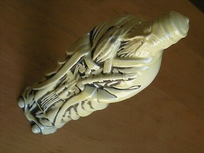 Antique Chinese Sage Wiseman Porcelain Ceramic Yellow Glaze Statue Figure 14""