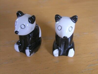 Small Cute Vintage Panda Bears Porcelain Salt Pepper Shakers Made in Japan B & W