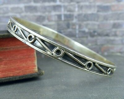 Mexico Sterling Silver Hoops & Lines Bangle Bracelet