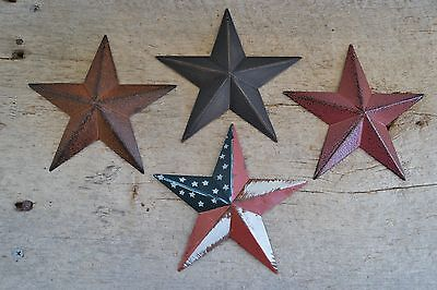 "Set of 4 ~ 5.5"" BURGUNDY RUSTY BLACK AMERICAN BARN STAR Primitive Country 5 1/2"""