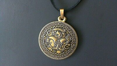 Viking Horse Bracteate Brass Pendant Leather Necklace! New Swedish Sweden Thor