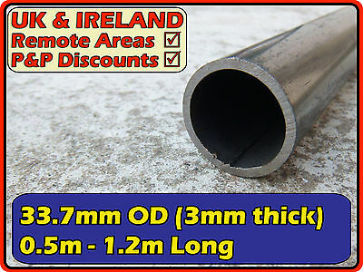 Mild Steel Round Tube (pipe,post,pole,tubing) | 33.7mm (>30mm) 3mm | metre ft +